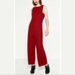 Zara Red Sleeveless Jumpsuit